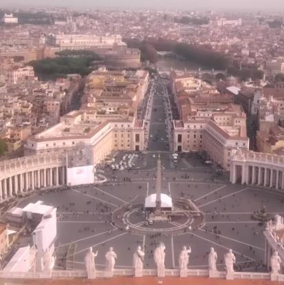 A view from the top of Saint Peter's Basilica, Vatican City. It is a long climb throug