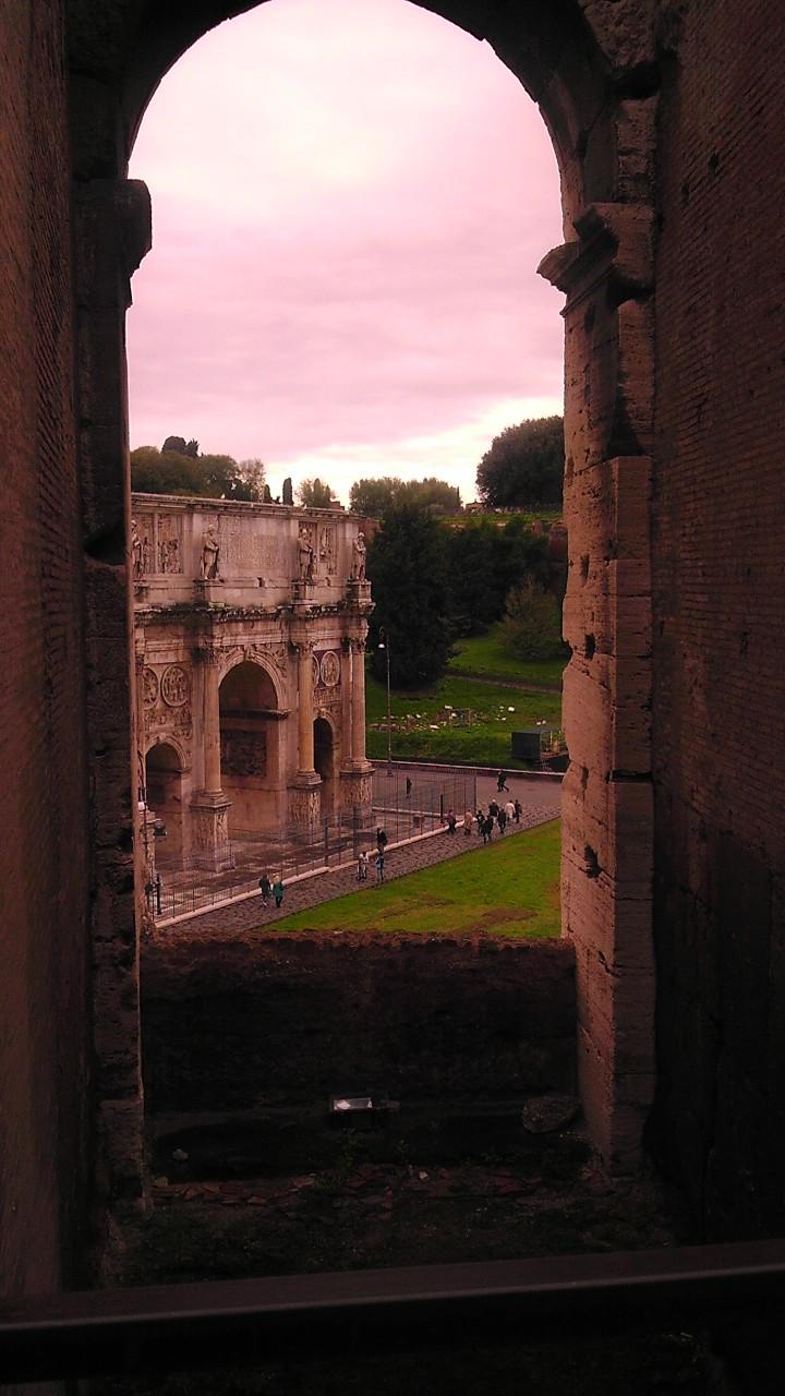 A view of the arch of constantine from the colosseum