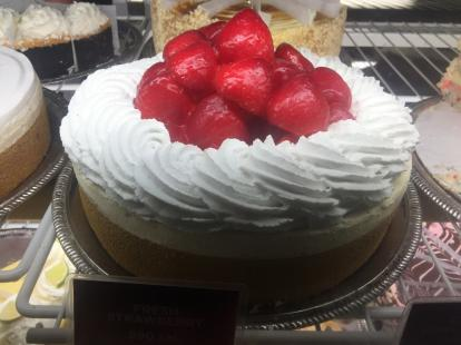 Strawberry cheesecake at the Cheesecake Factory #food $26 for a 7 inch cake slices from $7