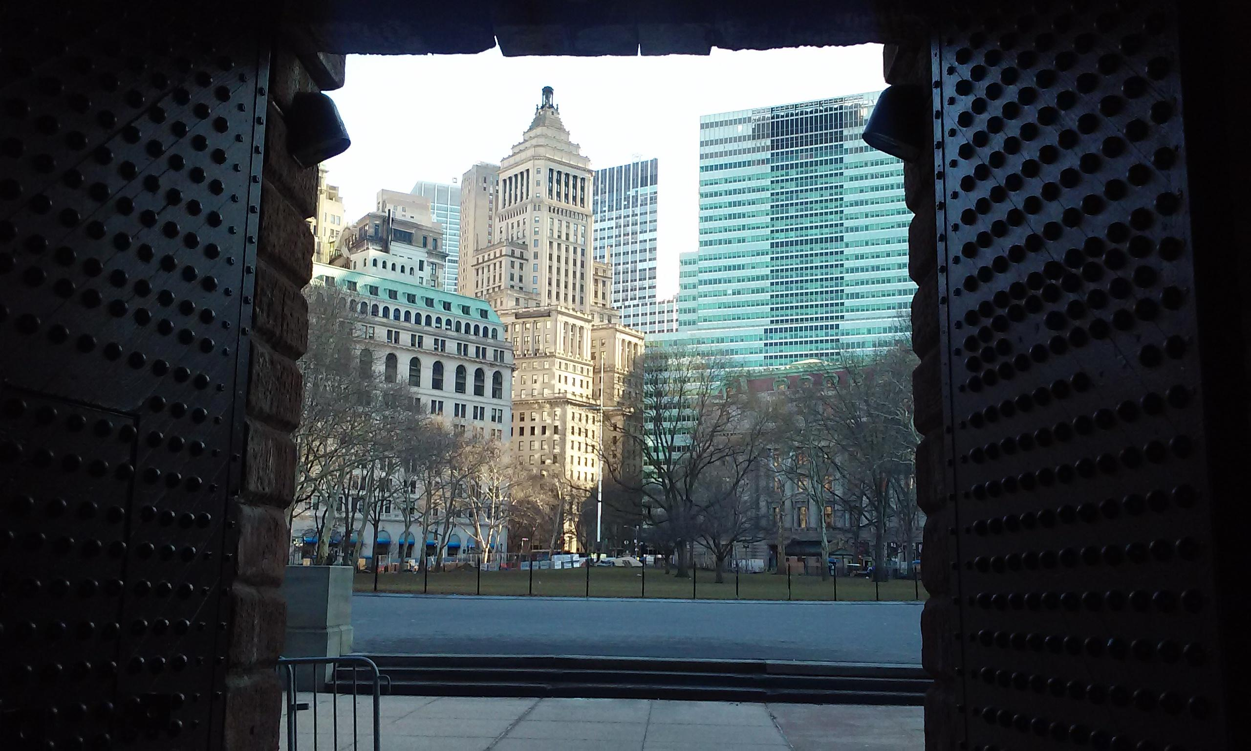 Battery Park framed by Castle Clinton