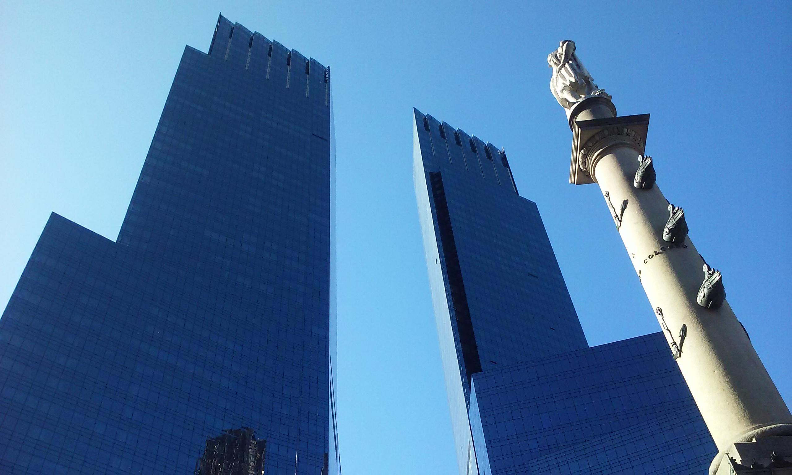 Columbus Circle and the Time Warner Building towers