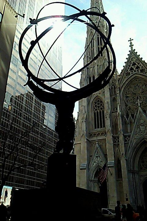 Church and state. Atlas at Rockefeller Center.