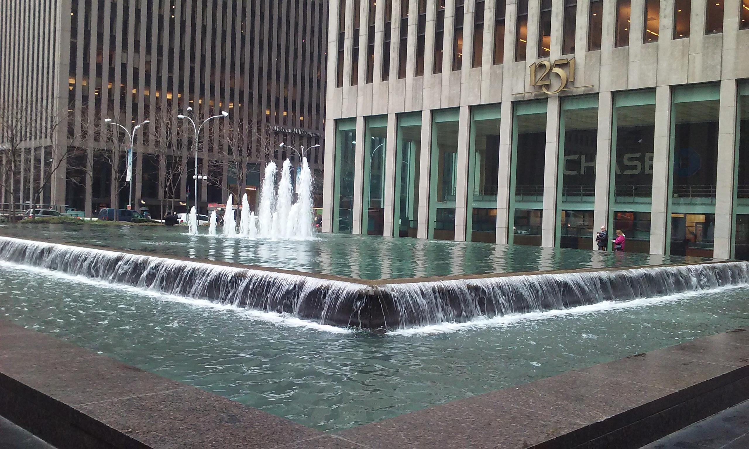 the fountain in front of the chase building