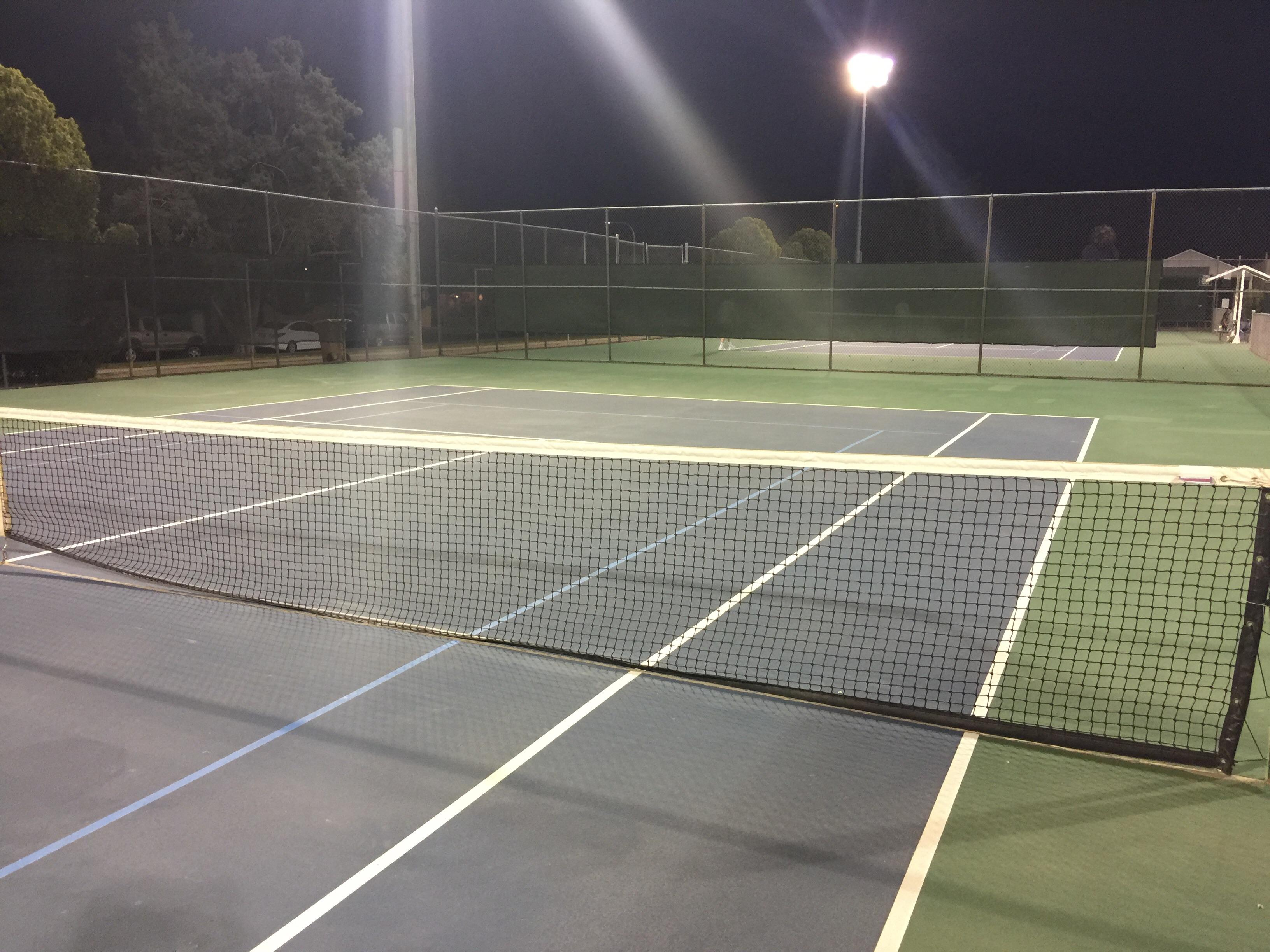 Lions Park tennis court lighted courts at night #usta