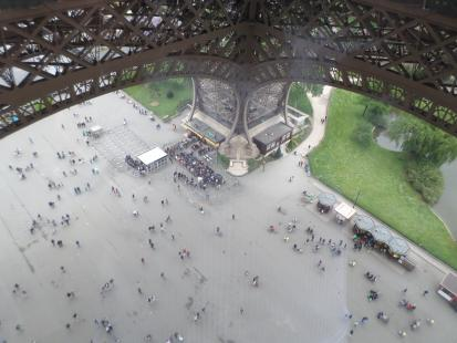 Buying Tickets at the Eiffel Tower in Paris, France. Tickets to the top of the tower are a