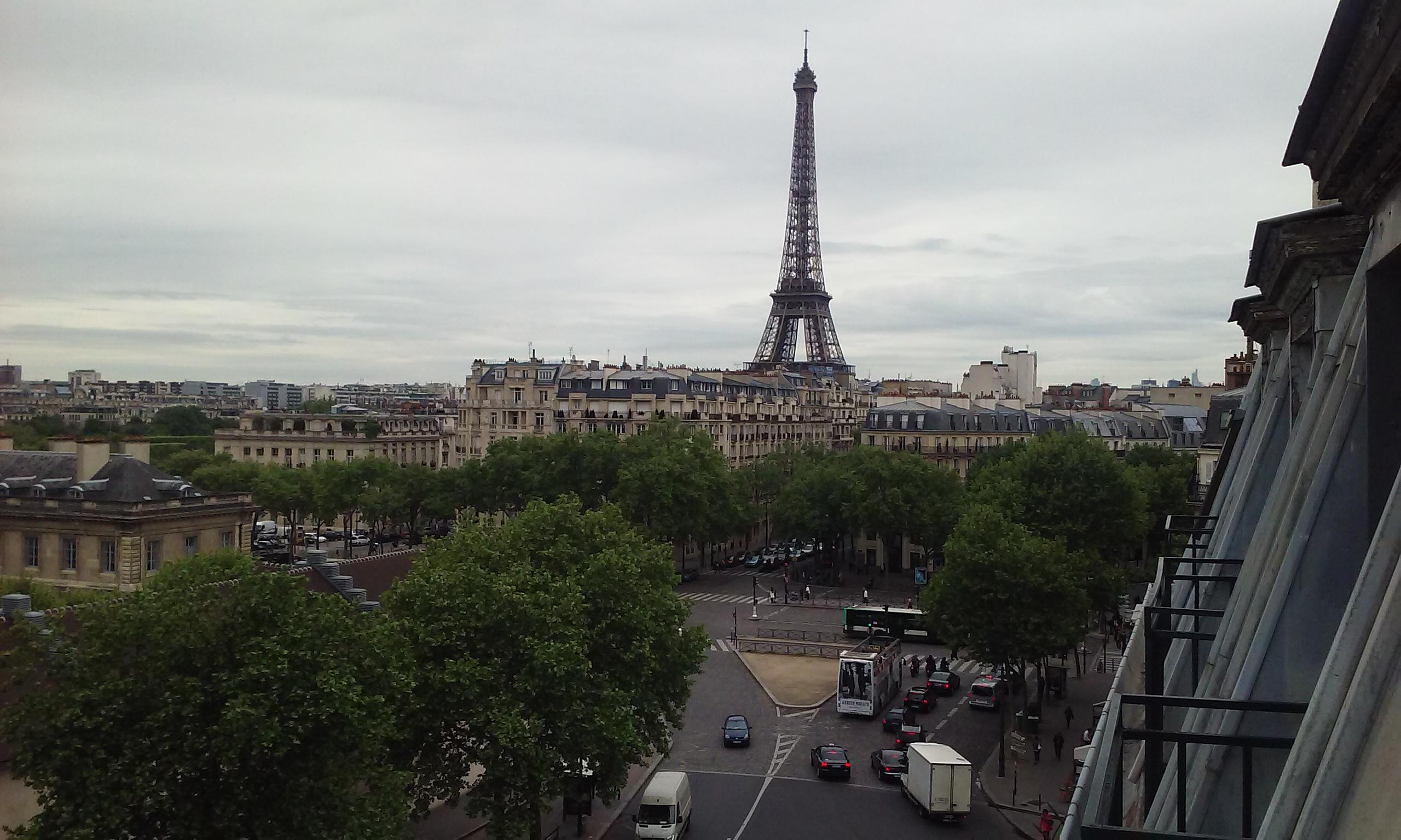 Eiffel Tower from the hotel balcony