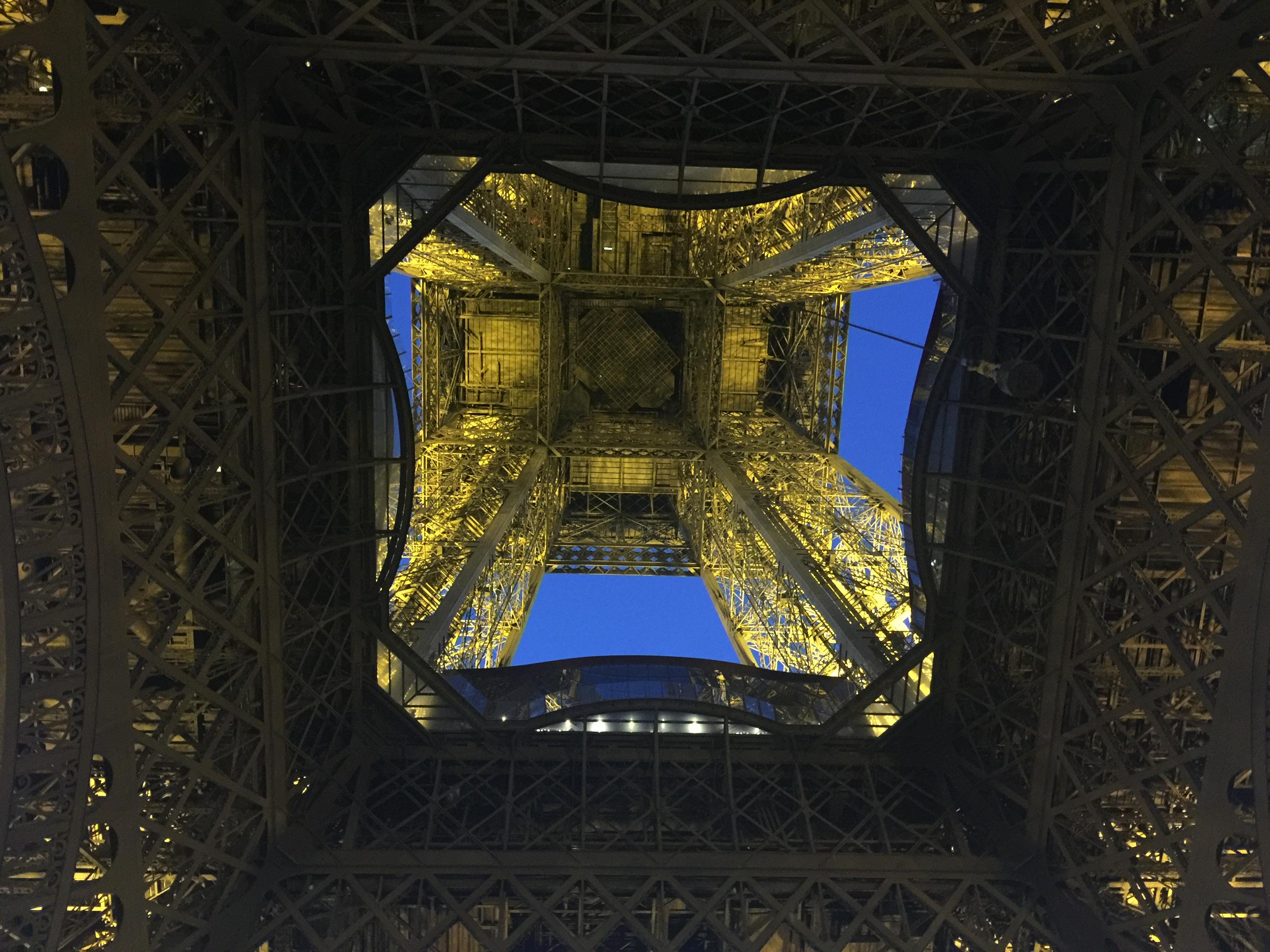 Looking up at the Eiffel Tower from the center