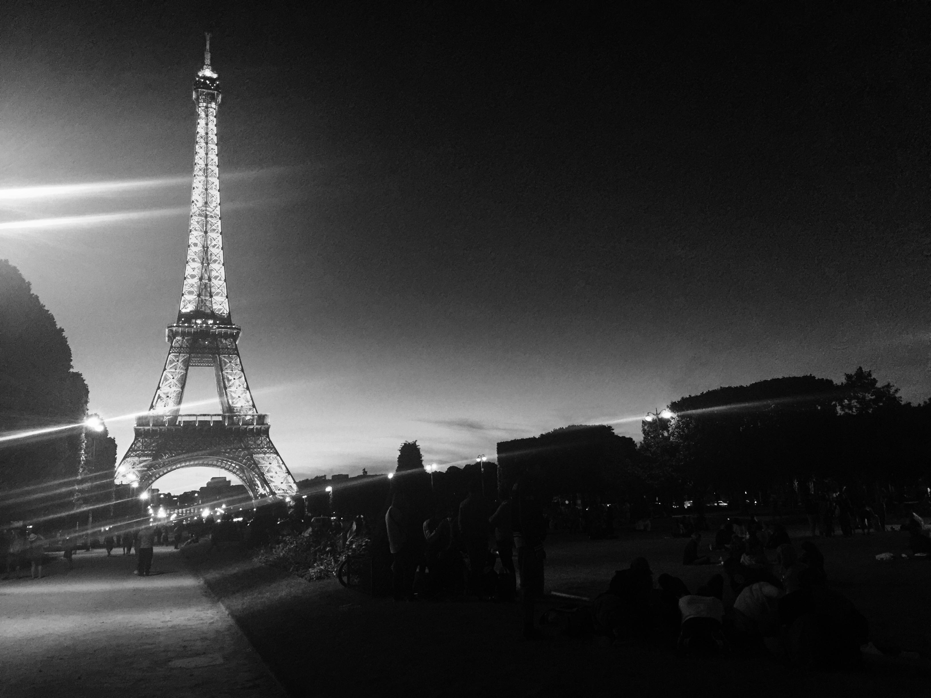 Eiffel Tower at night noir filter