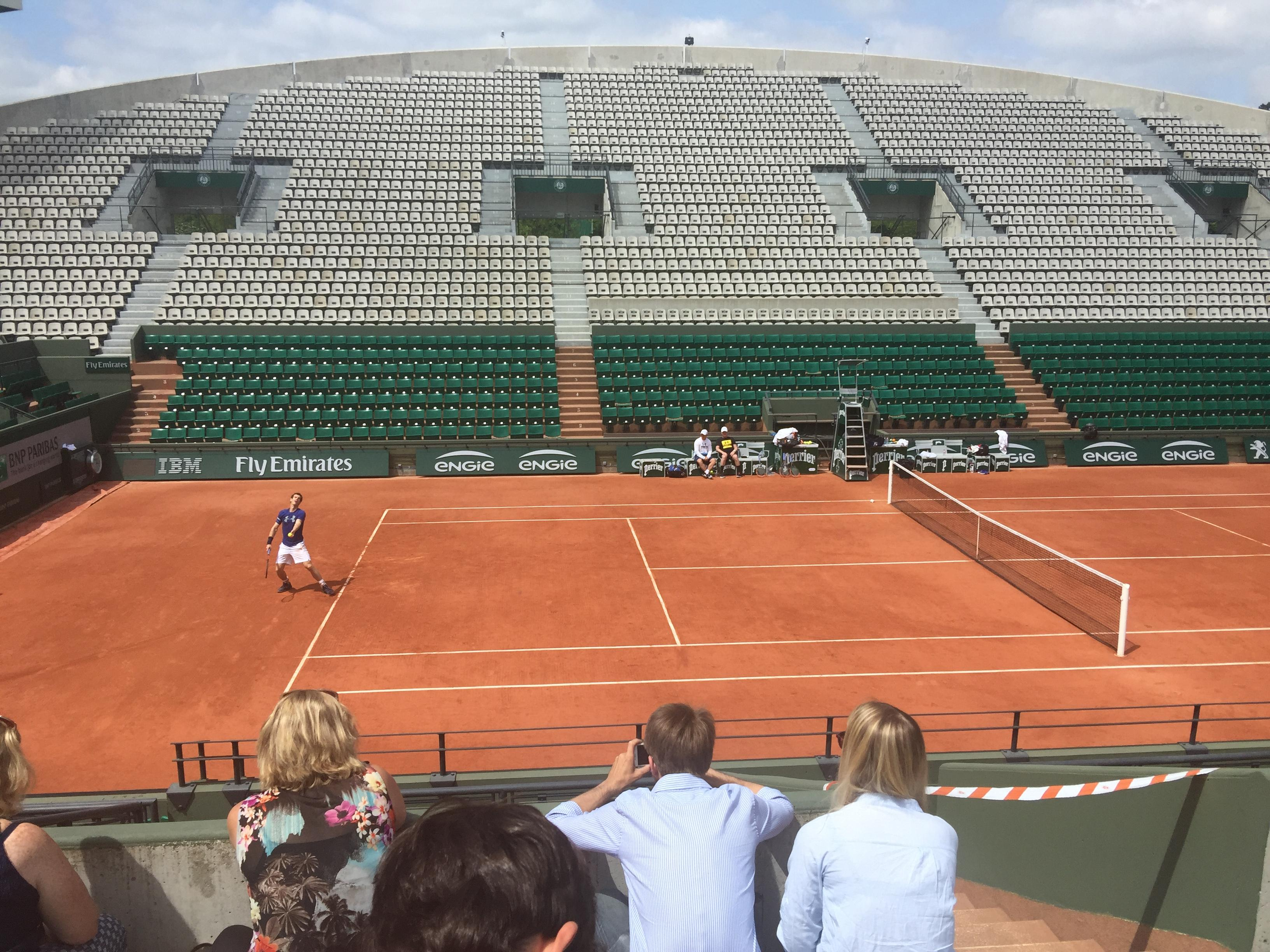 Andy Murray currently world number one practicing at Court Suzanne Lenglen at Roland-Garro