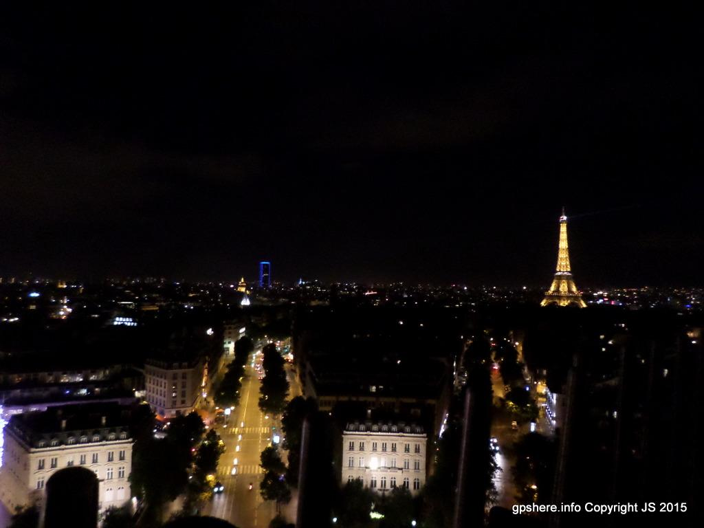 A view of the Eiffel Tower from the top of the Arc De Triomphe.