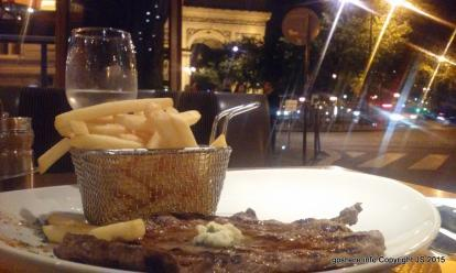 Steak frites from a cafe with outdoor seating north of the Arc de Triomphe. About 17 euros