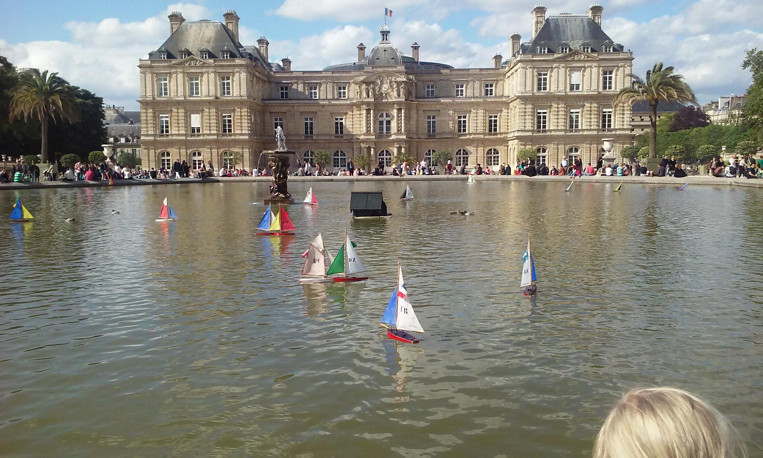 Luxembourg Gardens a fountain with sail boats