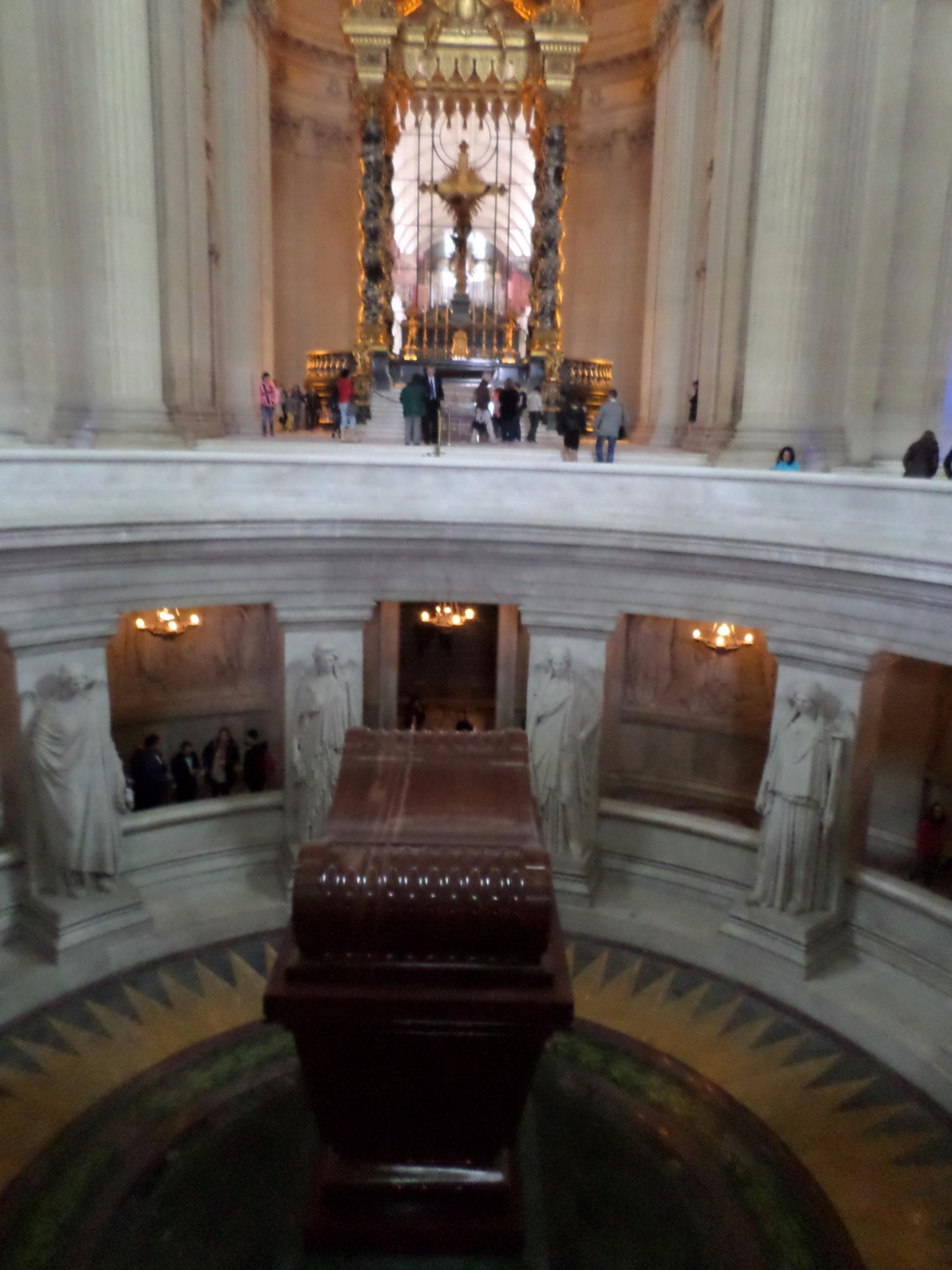 Napoleon Bonaparte's Tomb is at the lower level and the upper level has an altar with