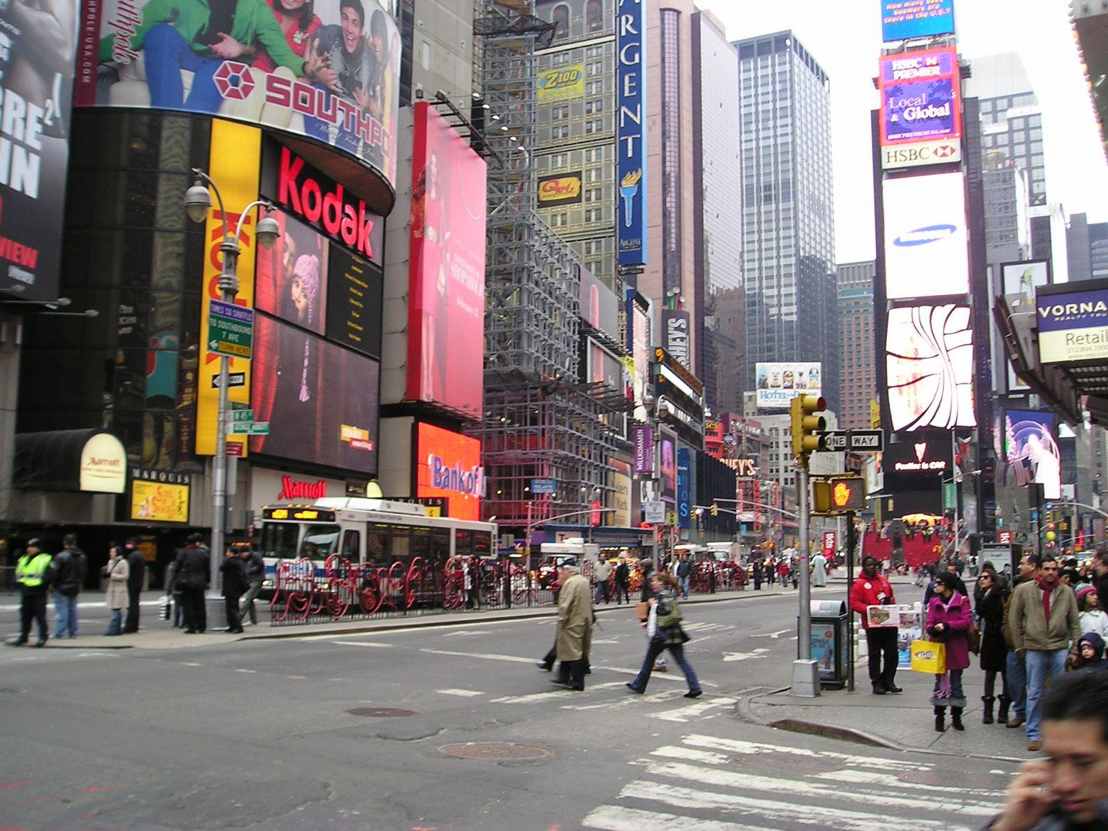 Times Square circa 2009 New York City. Billboards change company names but there always a